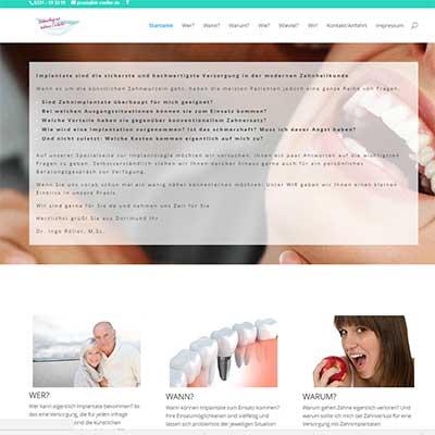 Webseite zum Thema Implantologie