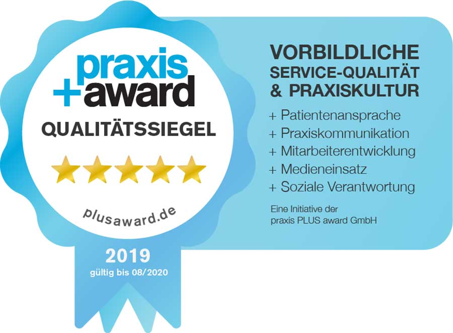 Ausgezeichnet: Praxis+ Award Qualitätssiegel 2019 erhalten